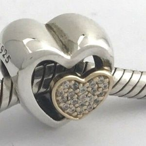 PANDORA Joined Together Silver &14K Heart Charm
